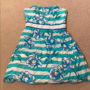 Blue strapless Lilly Pulitzer dress